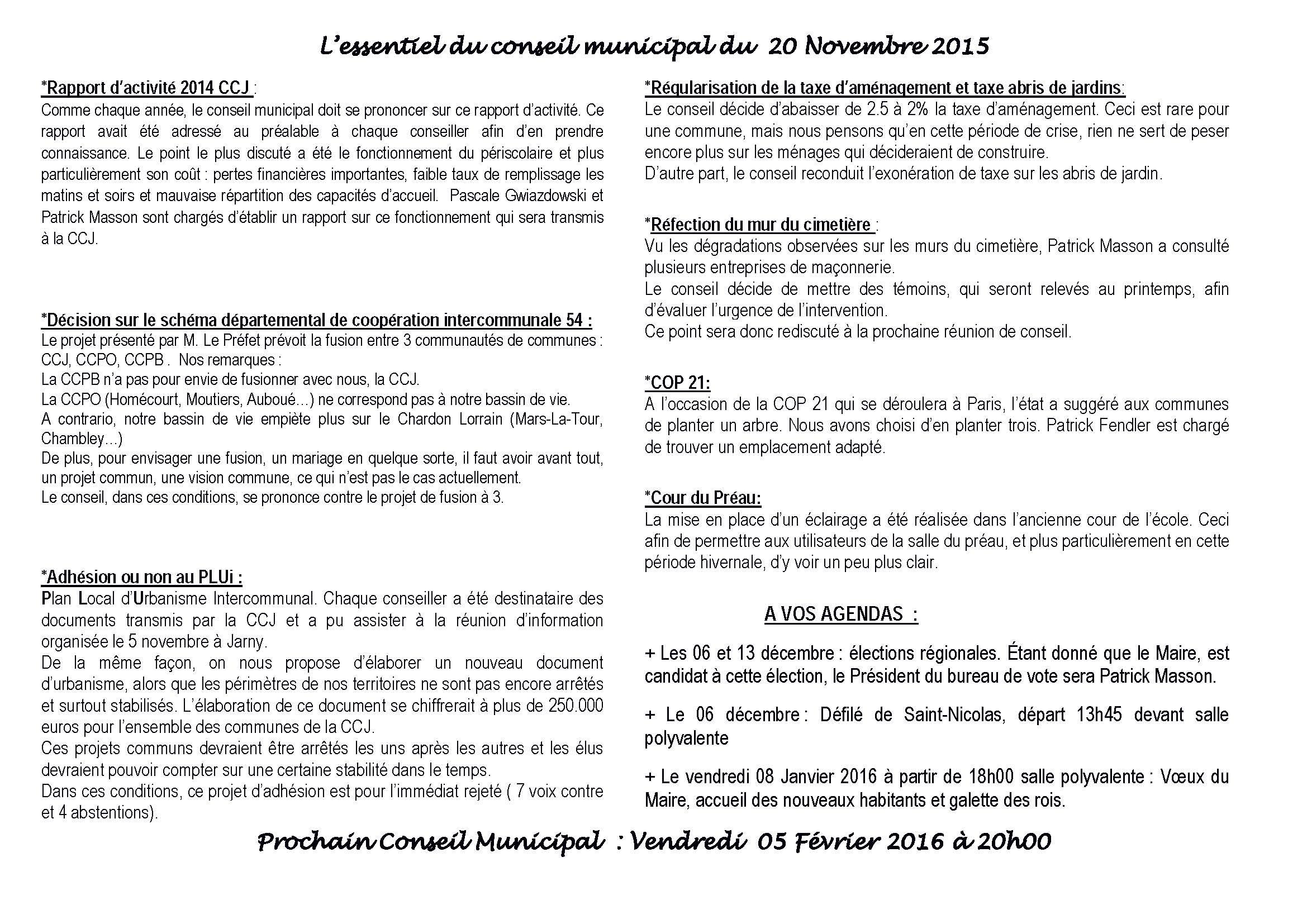 Le conseil municipal du 20 novembre 2015