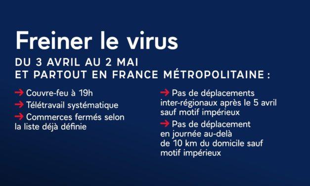 Freiner le virus du 3 avril au 2 mai 2021